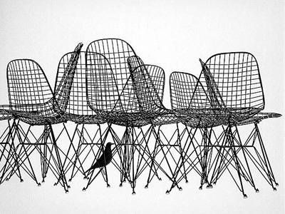 Charles & Ray Eames. Чарльз и Рэй Эймс. Wire Chair DKR. 1951