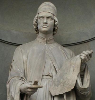 Статуя Альберти во дворе Уффици