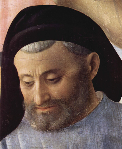 Предполагаемый портрет Микелоццо. Фра Анджелико. Фрагмент фрески «Снятие с креста»