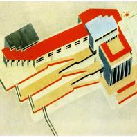 Эль Лисицкий. Проект яхт-клуба на Москве-реке. 1925 г. Аксонометрия